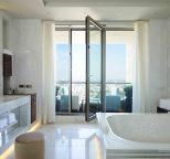Luxurious bathroom with a view at Waldorf Astoria Berlin